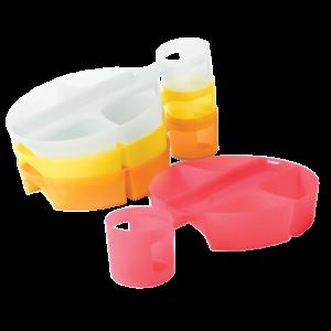 Vassoi indossabili in plastica colorata